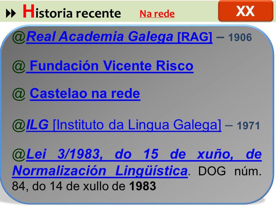  Historia recente XX Real Academia Galega [RAG] – 1906
